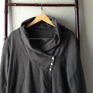 Danskin Heather Charcoal Gray Button Wrap Cardigan